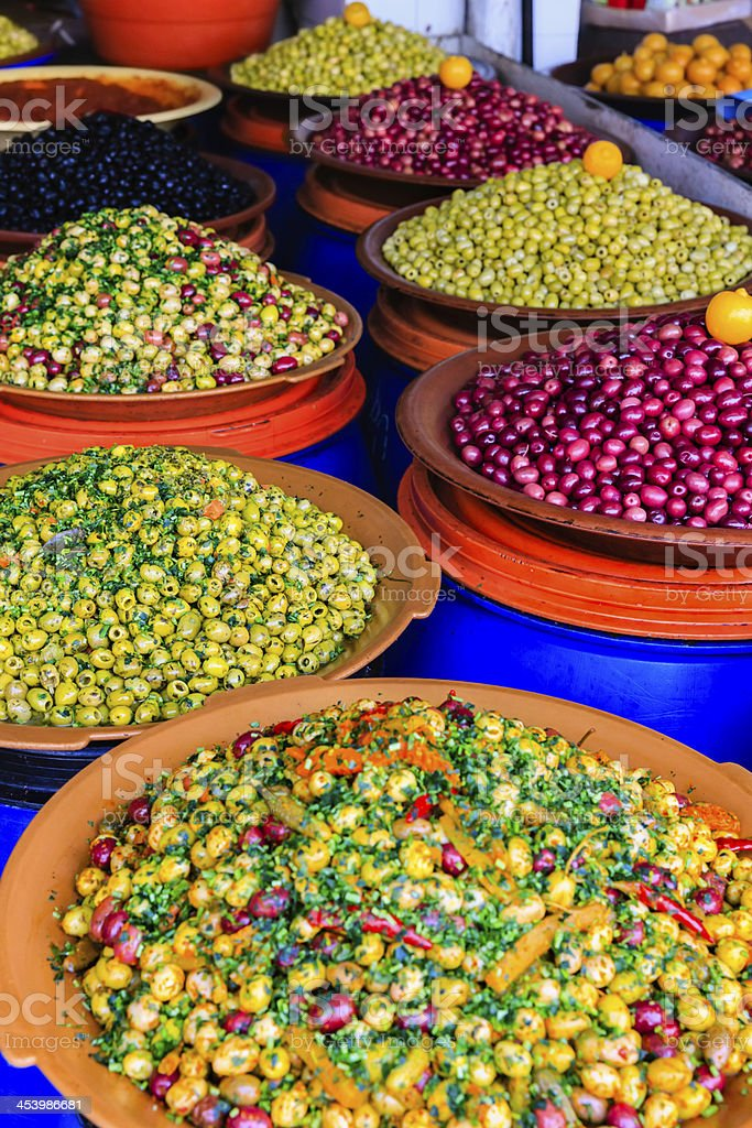 Fresh olives for sale, Morocco, Africa royalty-free stock photo