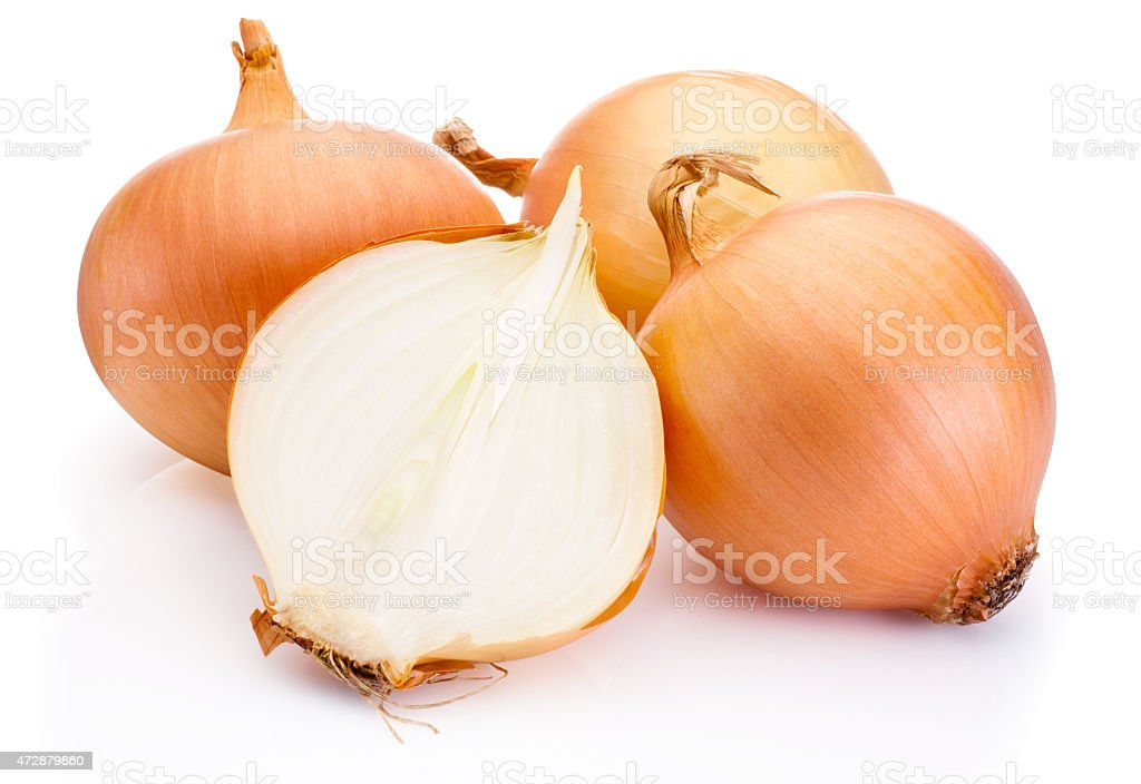 Fresh onion bulbs isolated on white background stock photo