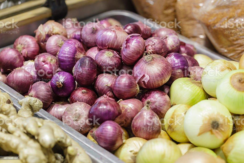 Fresh onion  for sale at  farm market stock photo