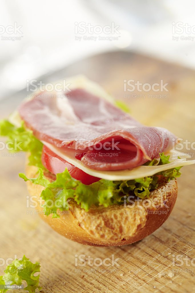 fresh open sandwich with bacon royalty-free stock photo