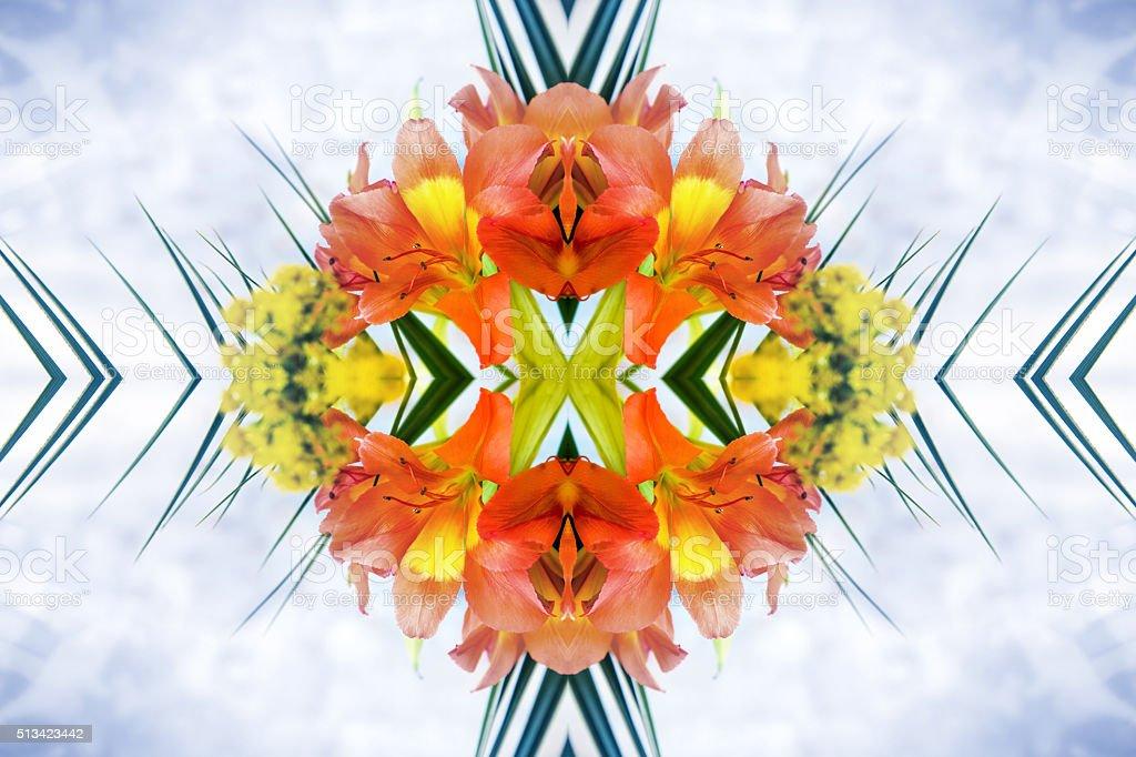 Fresh orange Alstroemeria flowers petal surreal shaped symmetrical kaleidoscope stock photo
