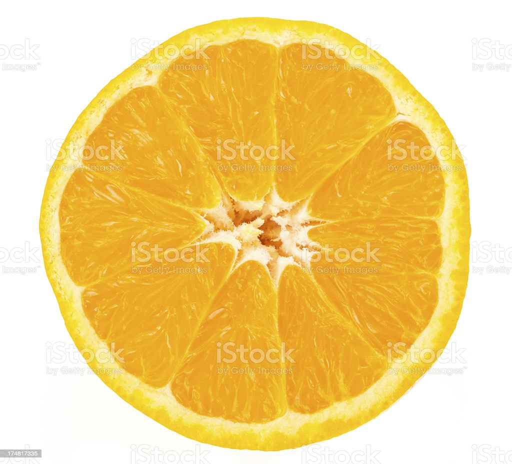 Fresh orange cut in half royalty-free stock photo