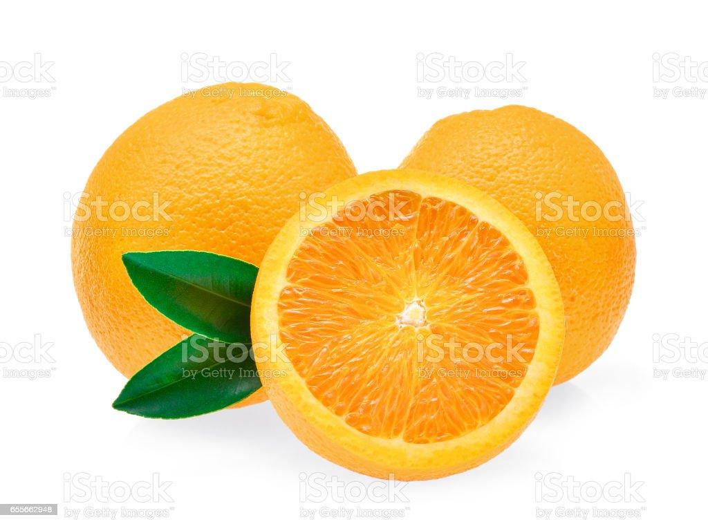 fresh orange fruit with leaf isolated on white background stock photo