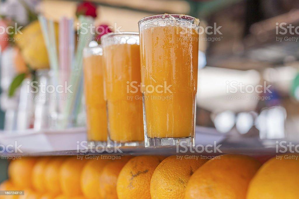Fresh Orange Juice in Marrakech Medina Morocco royalty-free stock photo