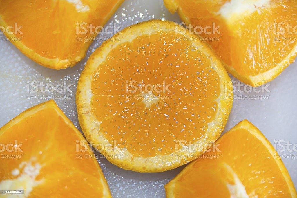 Fresh Orange Slice and Segments royalty-free stock photo
