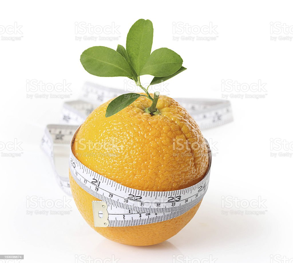 Fresh orange with measuring royalty-free stock photo