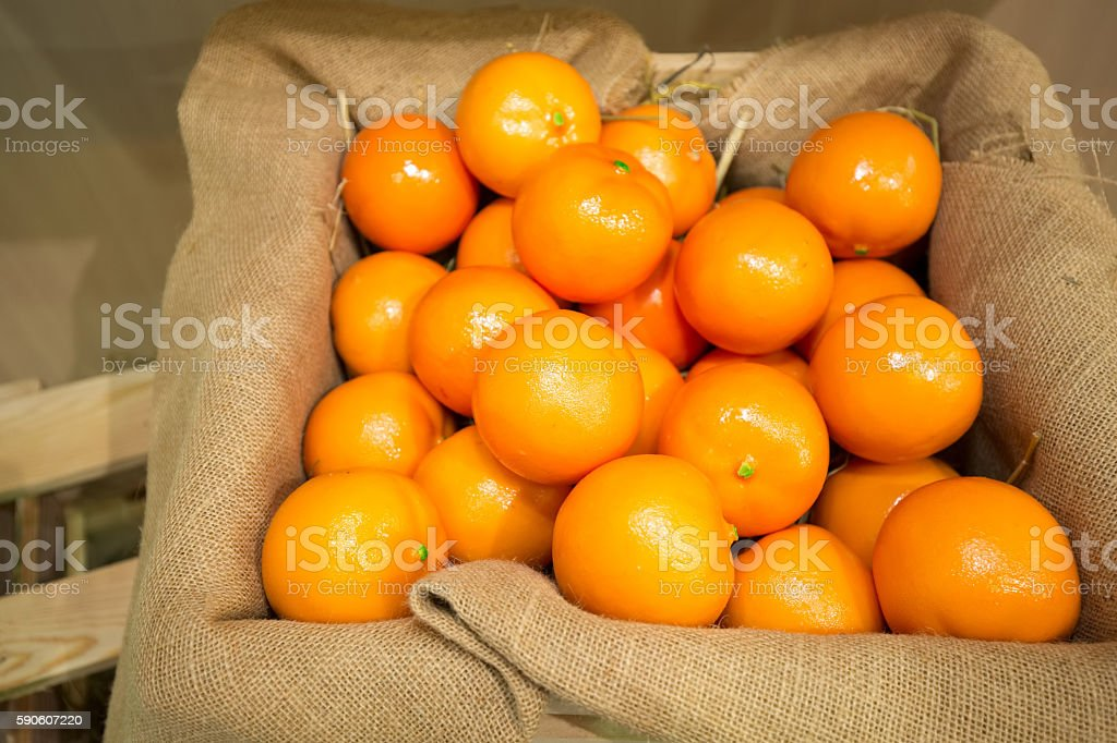 Fresh oranges in a wooden crate stock photo