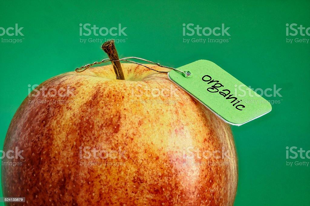fresh organic apple with label stock photo