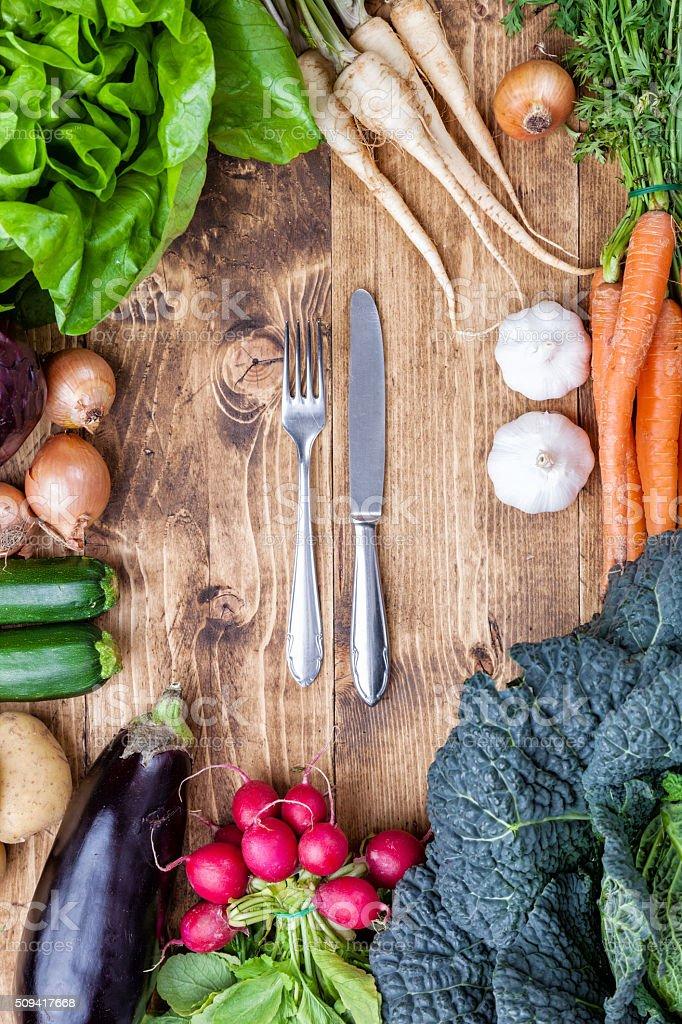 Fresh organic bio vegetables on wooden background stock photo