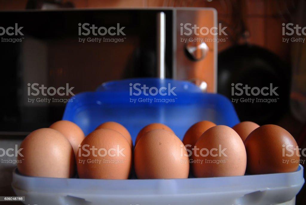 Fresh organic brown eggs stock photo