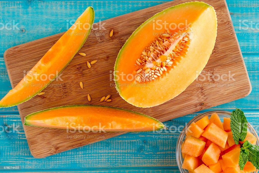 Fresh organic cantaloupe melon stock photo