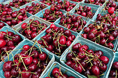 Fresh organic cherries at a farmers market