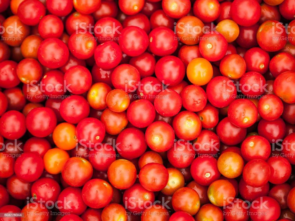 Fresh organic cherry tomatoes stock photo