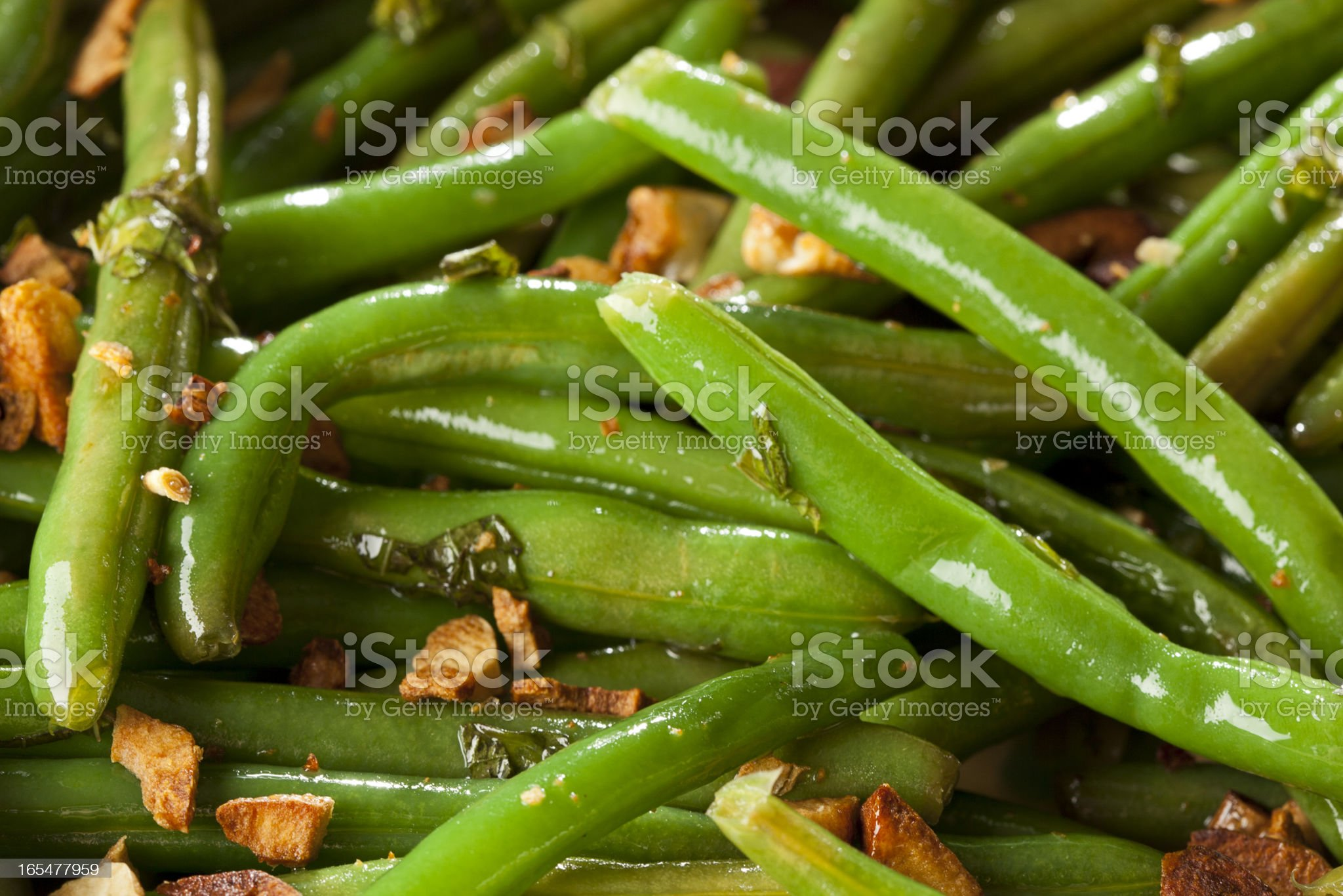 Fresh Organic Cooked Green Beans royalty-free stock photo