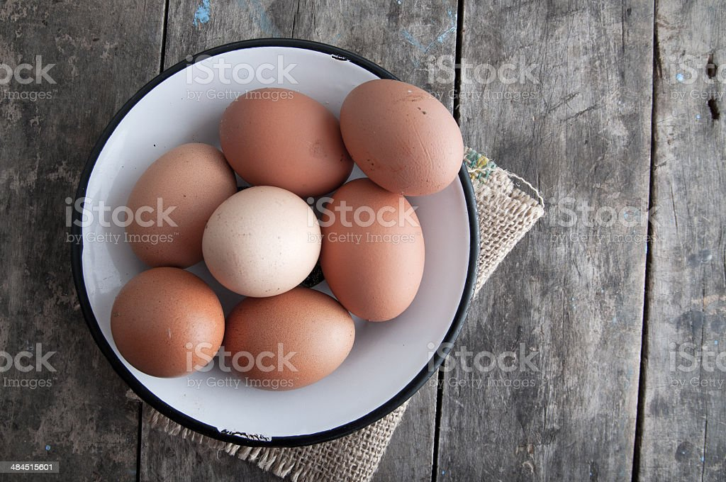 Fresh organic eggs stock photo