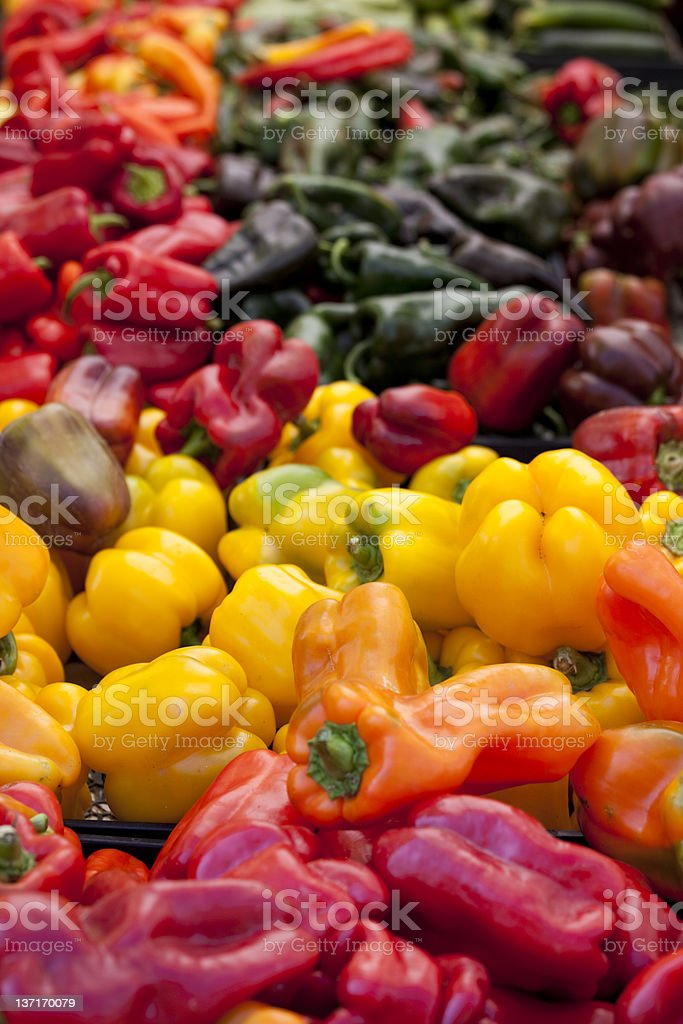 Fresh Organic Farmers Market Vegetables, Red Yellow Orange Peppe royalty-free stock photo