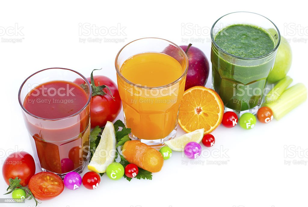 Fresh, organic fruit and vegetable juices royalty-free stock photo