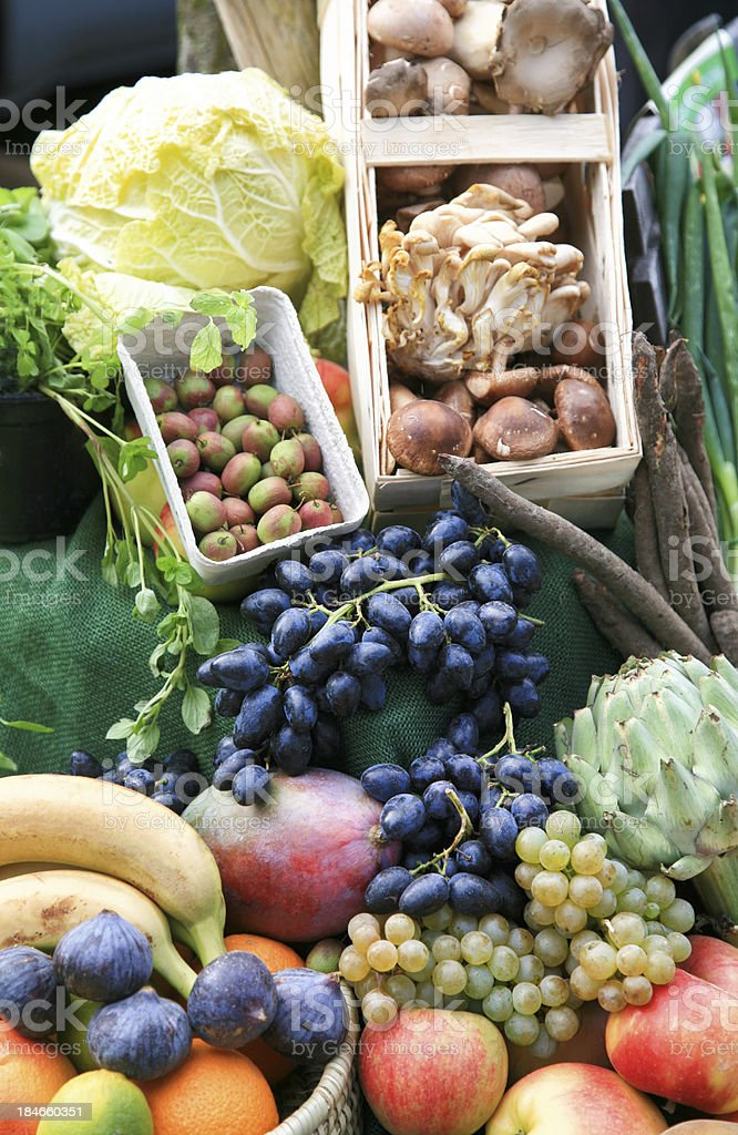 Fresh organic fruits and vegetables royalty-free stock photo