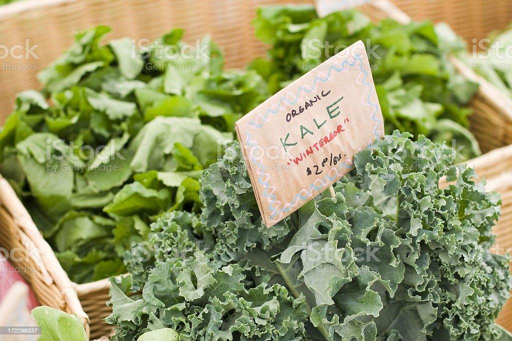 Fresh Organic kale at farmers market stock photo