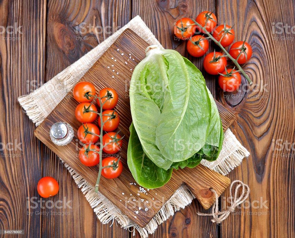 Fresh organic lettuce and cherry tomatoes stock photo