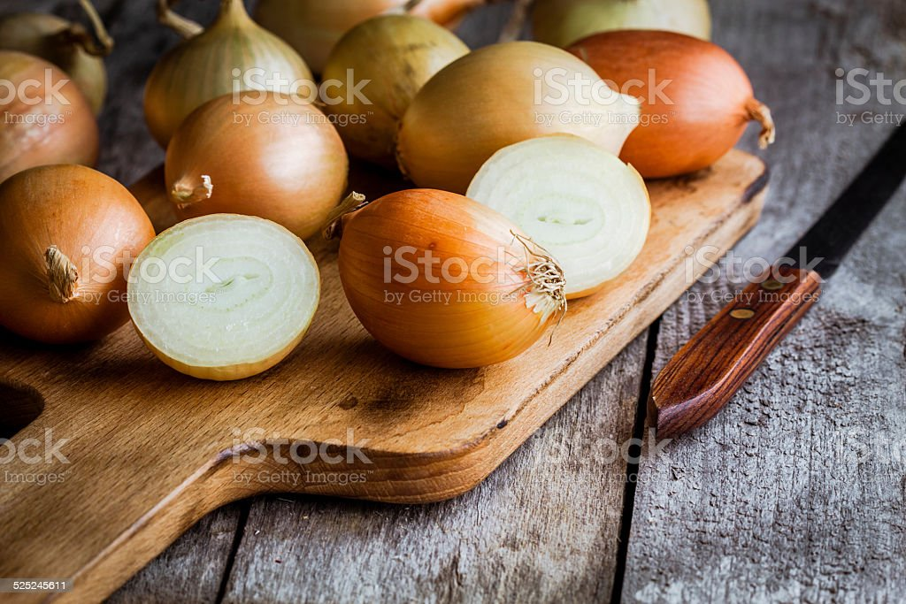 Fresh organic onions stock photo
