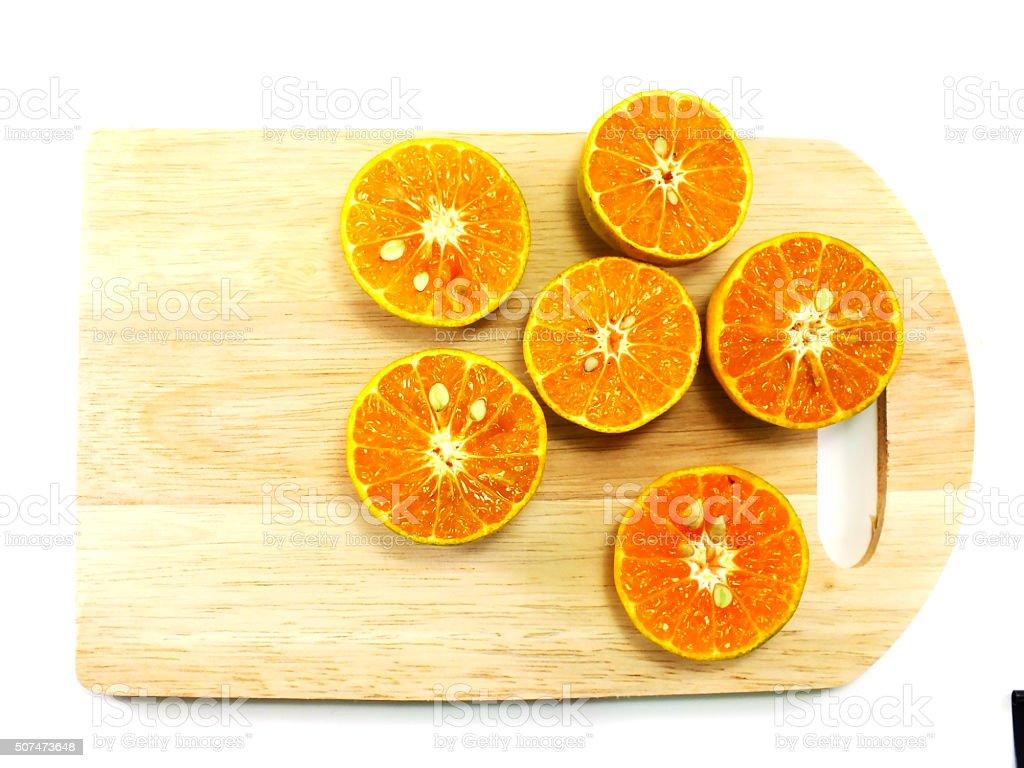 fresh organic oranges halves fruits on white background stock photo