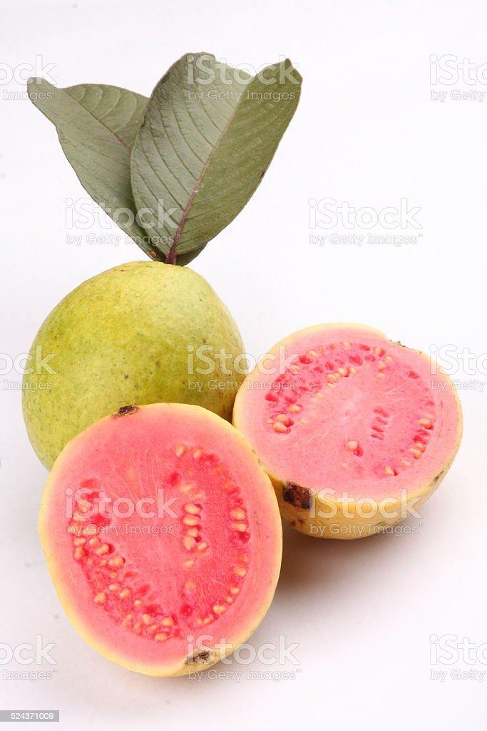 Fresh organic pink guava fruit. stock photo