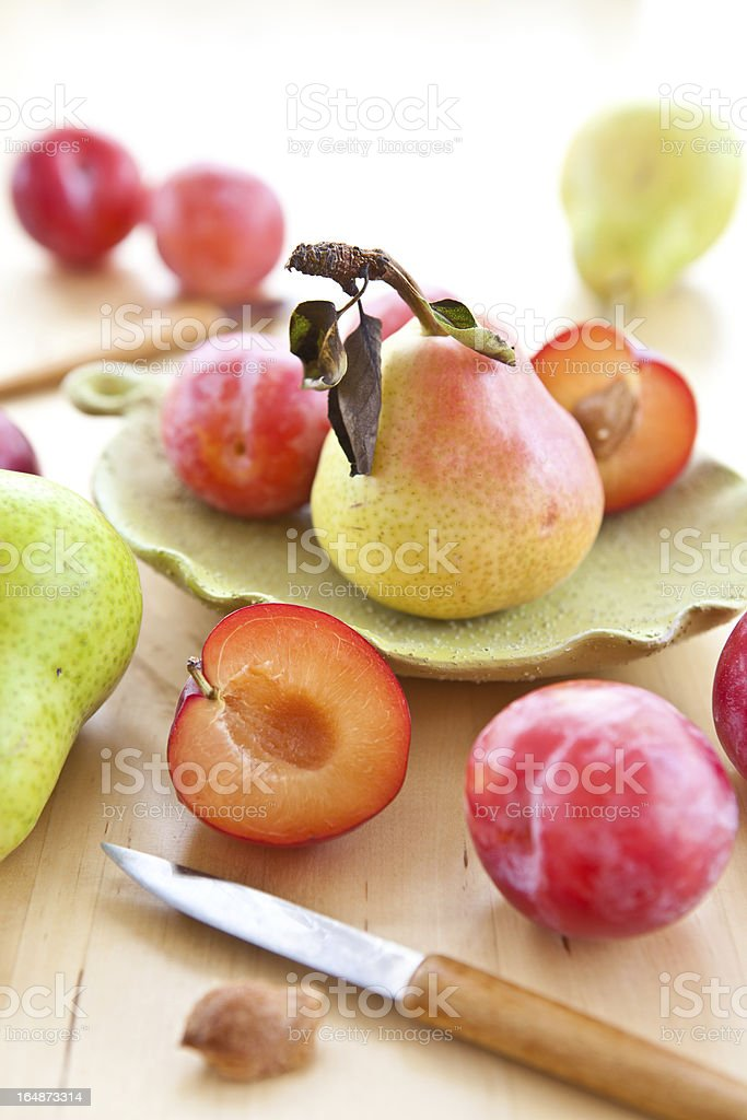 Fresh organic plums, pears and apples royalty-free stock photo