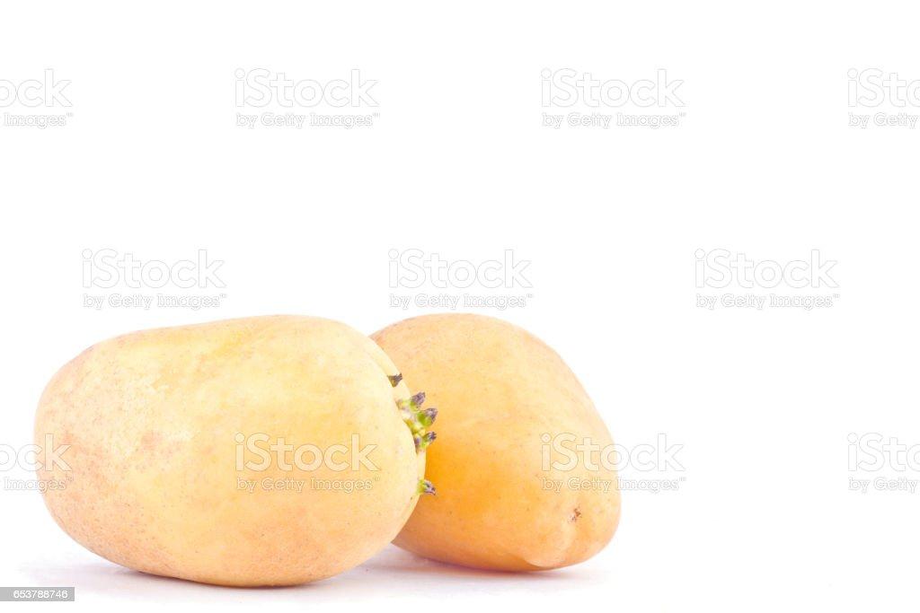fresh organic potatoes tubers on white background healthy potato Vegetable food isolated stock photo