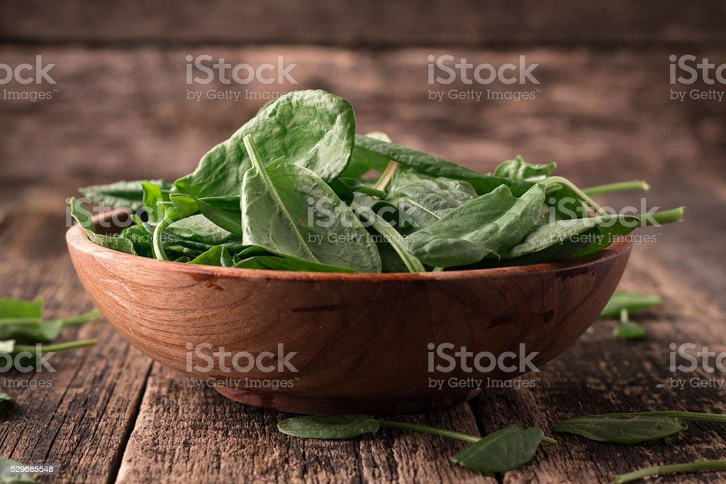 Fresh organic sorrel on table. healthy food stock photo