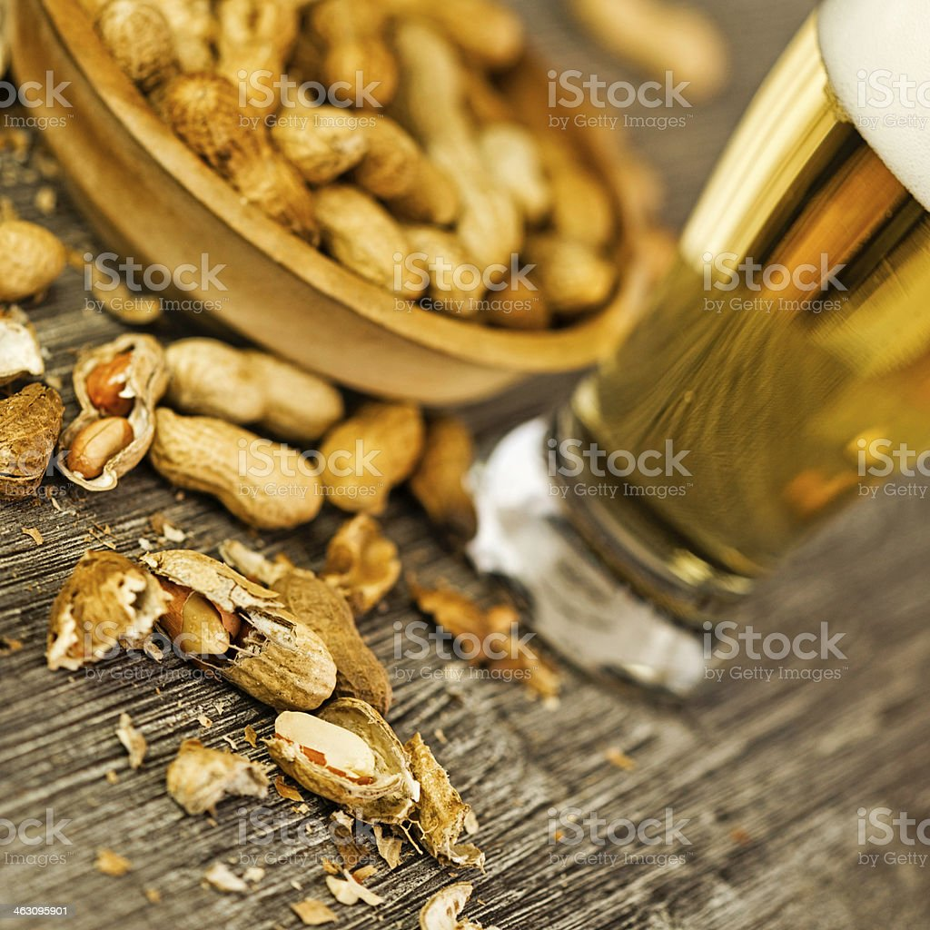 Fresh Organic Virginia Peanuts and Beer stock photo