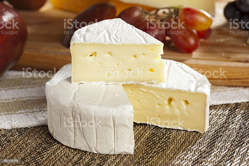 Fresh Organic White Brie Cheese stock photo