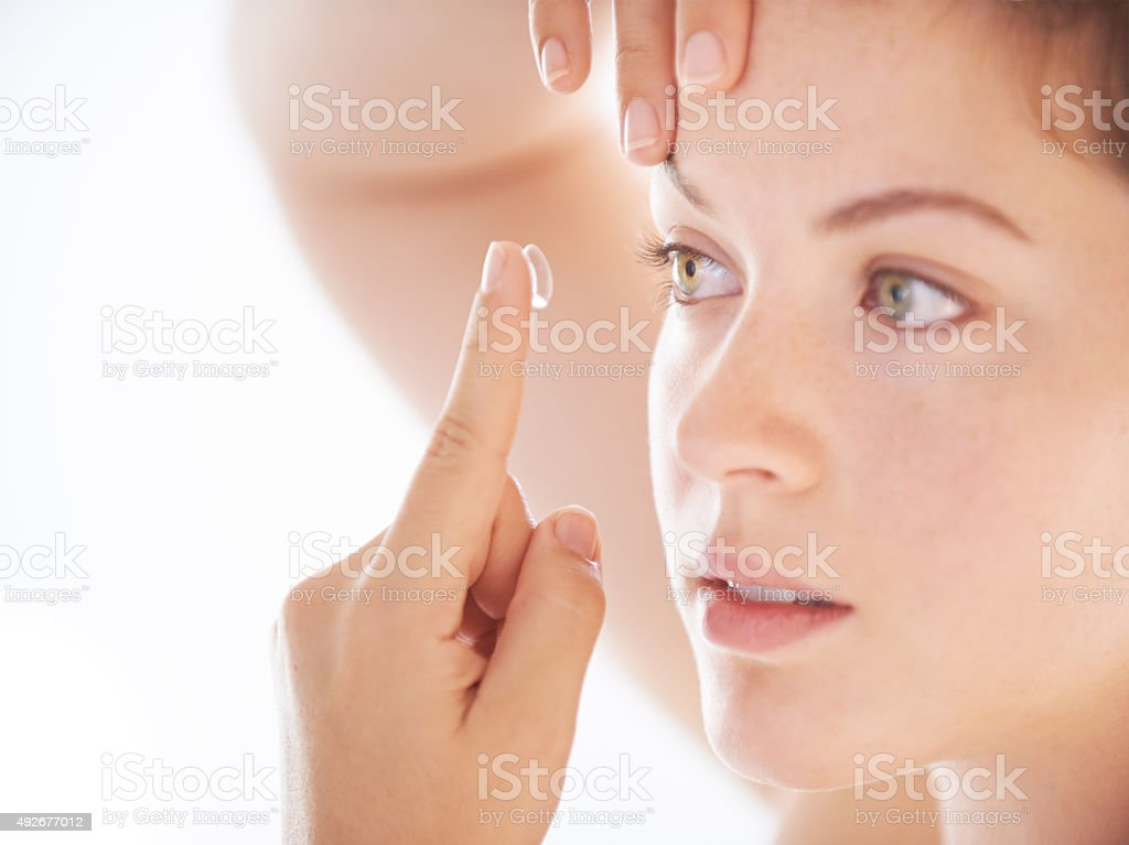 Fresh outlook on life thanks to my contact lens stock photo
