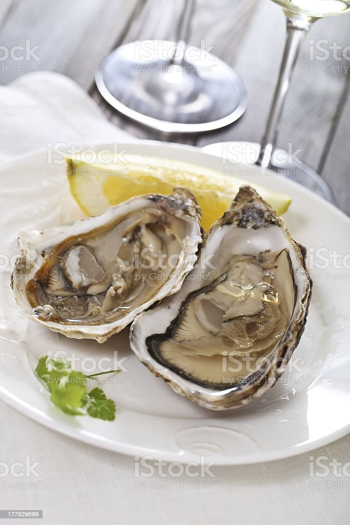 Fresh oysters and lemon plated royalty-free stock photo