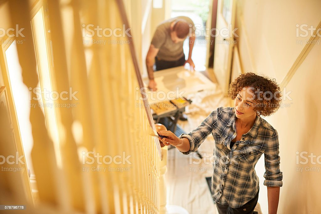 fresh paint for the old house stock photo