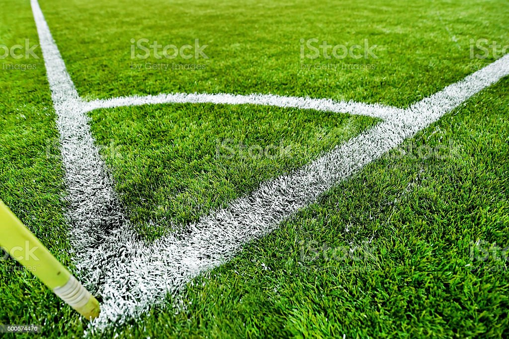 Fresh painted sideline on soccer field stock photo