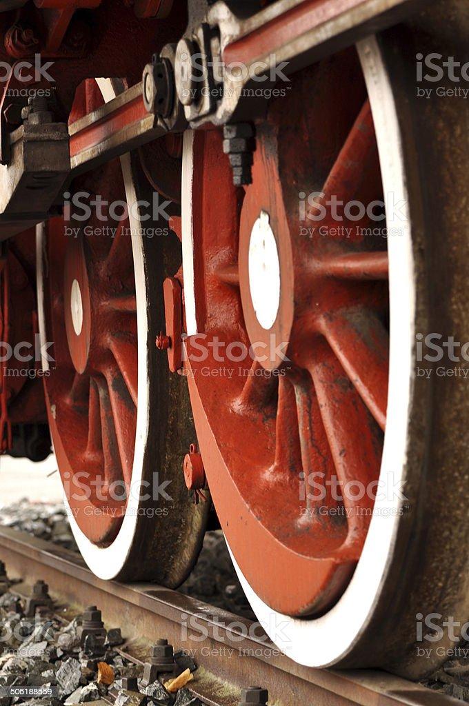 fresh painted train wheels on rails royalty-free stock photo