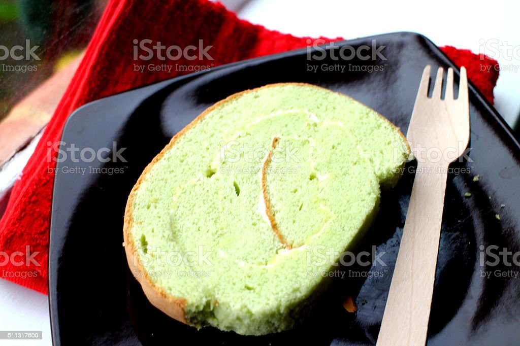 Fresh pandan roll cake stock photo