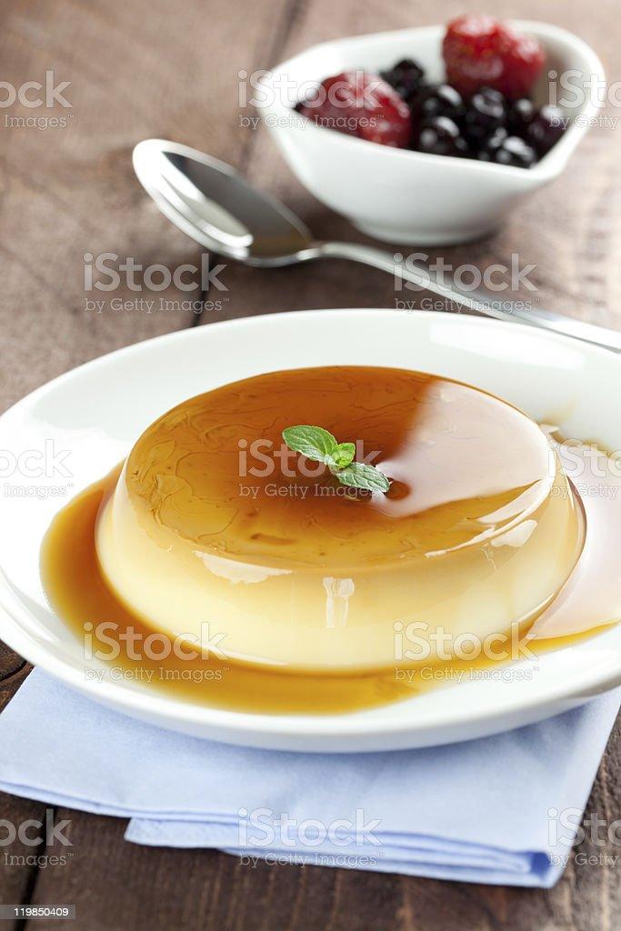 fresh panna cotta with caramel royalty-free stock photo