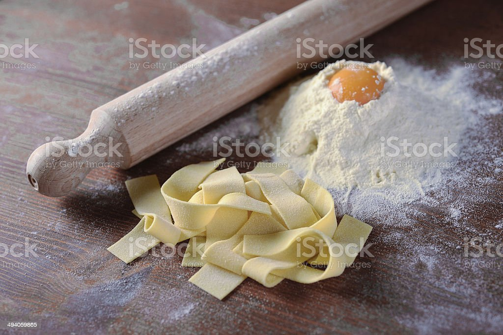 Fresh pappardelle stock photo
