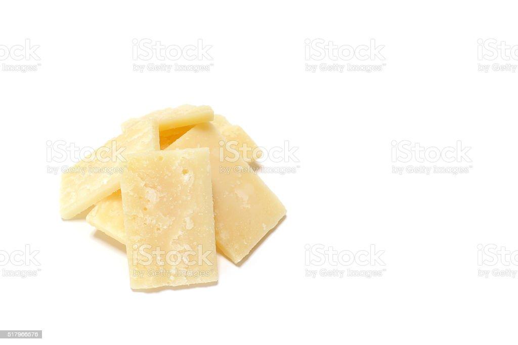 fresh parmesan cheese slice in white stock photo