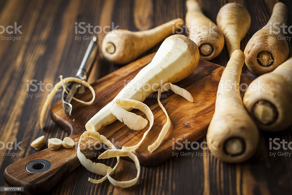 fresh parsnip stock photo