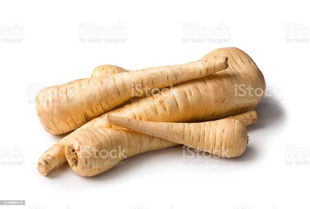 Fresh parsnip roots stock photo