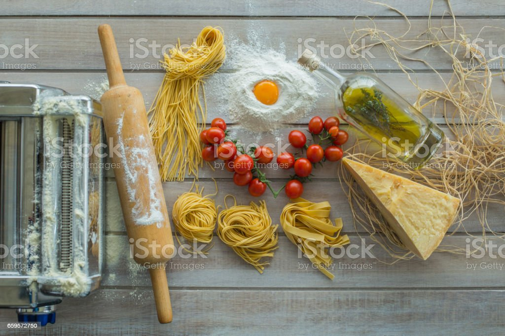 Fresh pasta and ingredients stock photo