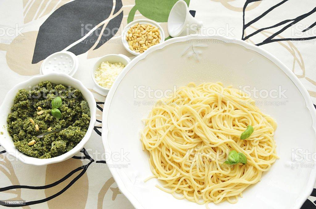 fresh pasta with pesto royalty-free stock photo