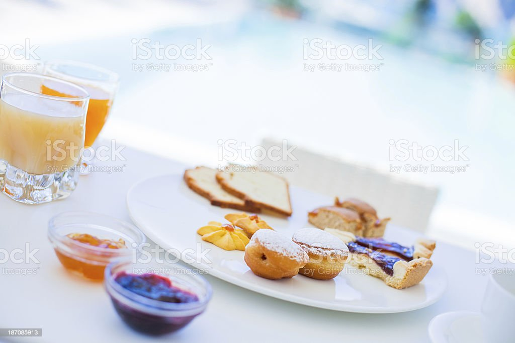 Fresh Pastry Hotel Breakfast royalty-free stock photo