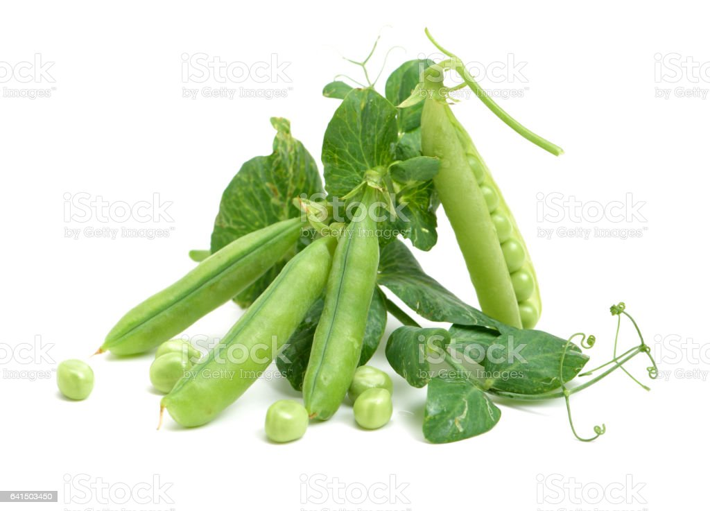 Fresh pea fruit with green leaf isolated on white background stock photo