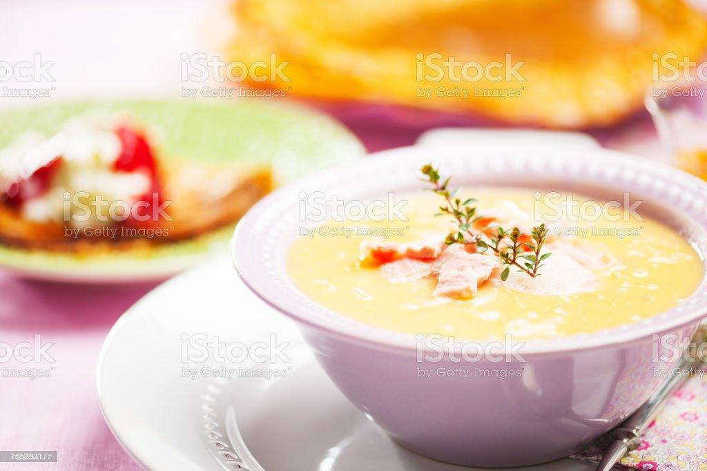 Fresh pea soup stock photo