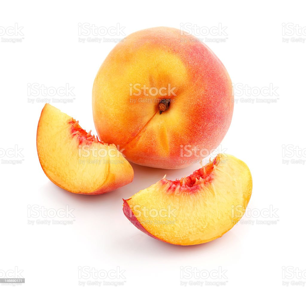 fresh peach fruits with cut royalty-free stock photo