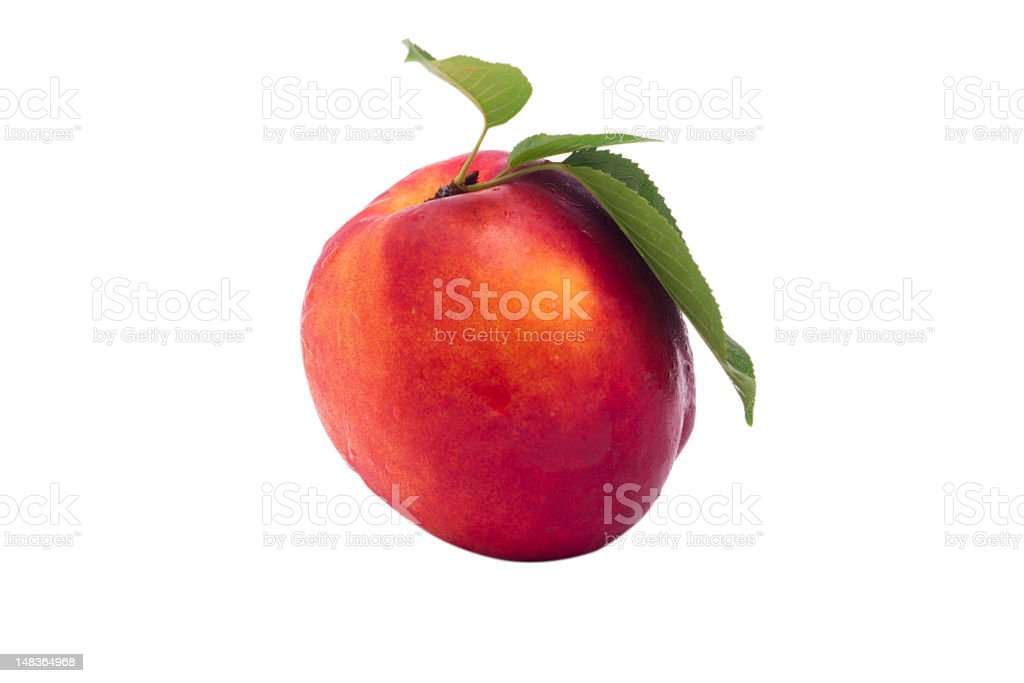 Fresh Peach with Leaf (Clipping Path) royalty-free stock photo